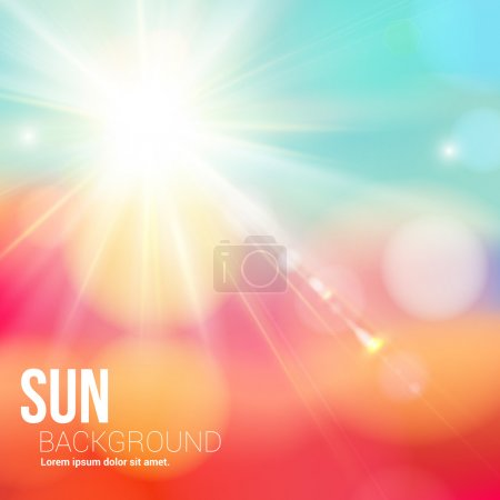 Illustration for Bright shining sun with lens flare. Soft background with bokeh effect. Vector illustration. - Royalty Free Image