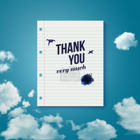 Illustration for Thank you card for different occasions. Note paper with lettering on a sky background. Vector image. - Royalty Free Image