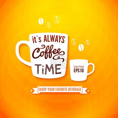 Illustration for It is always coffee time. Poster with coffee cups on a bright cheerful background. Cutout paper style. Vector image. - Royalty Free Image