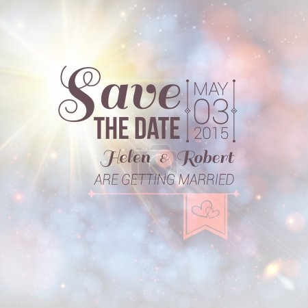 Illustration for Save the date for personal holiday. Wedding invitation on a lovely soft background. Vector image. - Royalty Free Image
