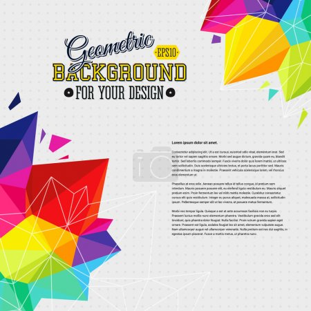 Illustration for Geometric background with bright triangle elements and place for Your text. Vector illustration. - Royalty Free Image