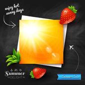 Card with summer sun on chalkboard