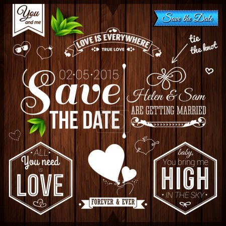 Illustration for Save the date for personal holiday. Wedding set on wooden background. Vector image. - Royalty Free Image