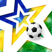 Soccer football poster Mosaic background in Brazil flag colors white star and realistic soccer ball Vector illustration