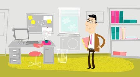 Illustration pour Homme drôle au bureau . - image libre de droit