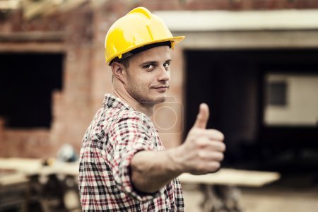 Photo for Construction worker gesturing thumbs up - Royalty Free Image
