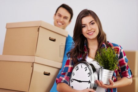 Photo for Young couple moving in their home - Royalty Free Image