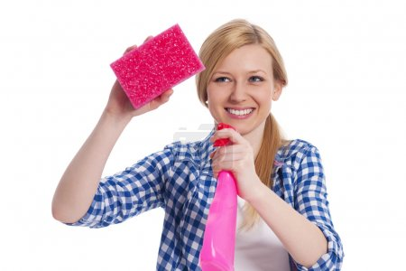 Photo for Young blonde female holding a cleaning equipment - Royalty Free Image