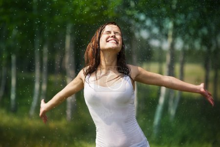 Photo for Happy young woman enjoying in nature - Royalty Free Image