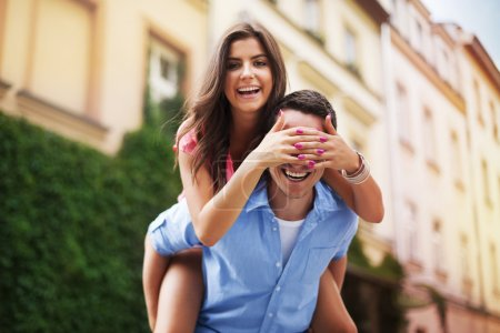Beautiful woman spending funny time with her boyfriend
