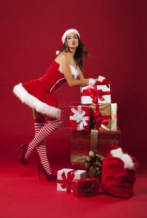 Photo pour Luxueux noël avec femme sexy - image libre de droit