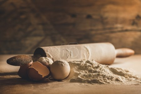 Photo for Home baking with eggs and flour - Royalty Free Image