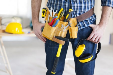 Photo for Part of construction worker with tools belt - Royalty Free Image