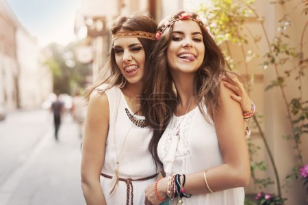 Photo for Funny faces of hippie female friends - Royalty Free Image