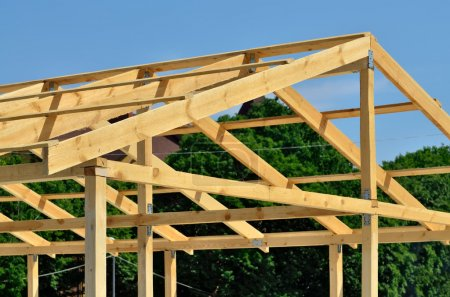 Construction of wooden trusses of thick boards...