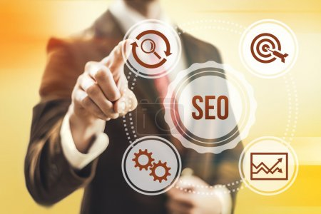 Photo for Search engine optimization concept man pointing SEO - Royalty Free Image