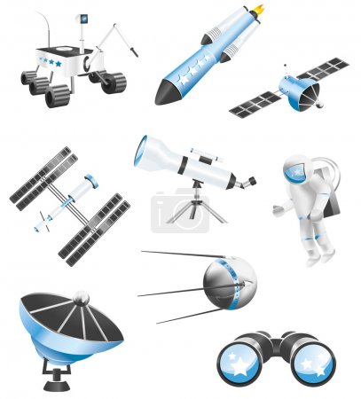 Illustration for Several space and astronomy related vector icons - Royalty Free Image