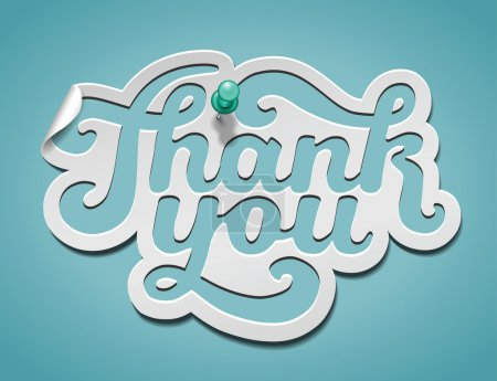 Illustration for Thank You signature cut from paper and pinned. Vector illustration for your business presentations. - Royalty Free Image