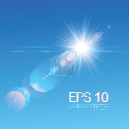 Sun on blue sky with lenses flare. Vector illustra...