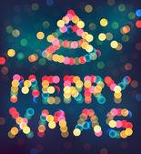 Merry christmas and christmas tree defocused lights signature