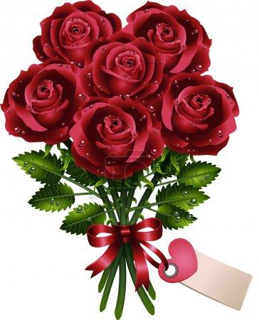 Illustration pour Bouquet de roses avec ruban et carte - image libre de droit
