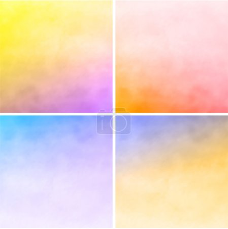 Illustration for Set of colorful watercolor backgrounds - Royalty Free Image