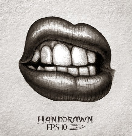 Illustration for Hand drawn woman mouth -  illustration. - Royalty Free Image