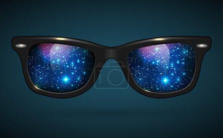 Illustration for Wayfarer sunglasses reflecting outer space - illustration. - Royalty Free Image