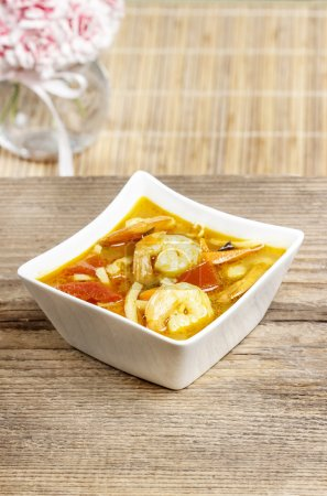 Tom yum kung is a simple and popular Thai hot and sour soup