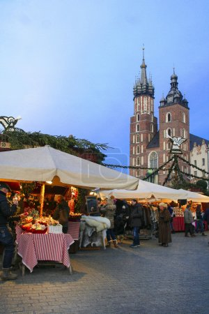 Annual christmas fair at the Main Market Square. Krakow, Poland
