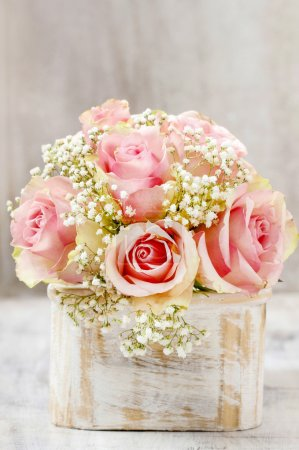 Photo for Bouquet of pink roses in wooden shabby chic box. Copy space - Royalty Free Image