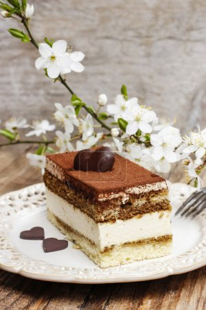 Tiramisu cake on white plate. Blossom apple branch in the backgr