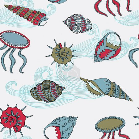 Abstract vector illustration with sea fauna.