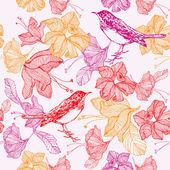 """Постер, картина, фотообои """"Цветы и птицы. Бесшовный узор. Векторные иллюстрации."""""""