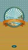 Summer retro background Vintage seaside view illustration