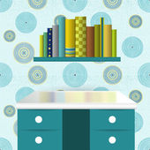 Children interior design Book shelf illustration