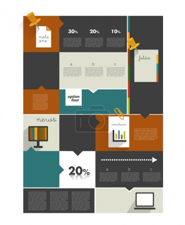 Modern infographic box diagram can be used for annual report. Web or print banner, template. Simply minimalistic option graphics design. Vector illustration.