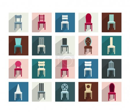 Collection of various chairs. Modern flat pictogram set.
