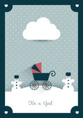 New born invitation vintage card template Retro buggy concept Vector illustration