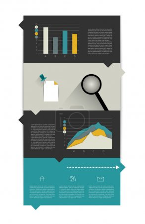 Info graphic flat diagram. Speech bubble scheme with graphs and text fields.