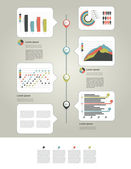 Layout page of business graph collection Modern scheme page structure with text fields speech bubbles and charts