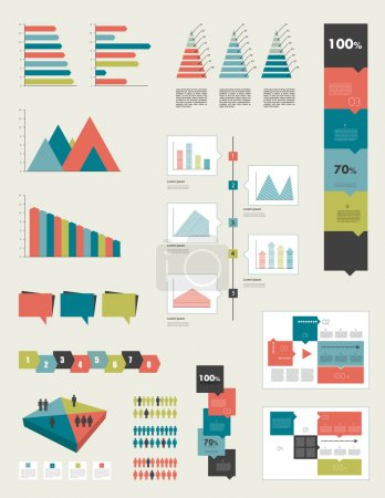 Flat infographic collection of charts, graphs, speech bubbles, schemes, diagrams. Trend color set. Rectangle design.