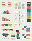 Flat infographic collection of charts graphs speech bubbles schemes diagrams Trend color set Rectangle design