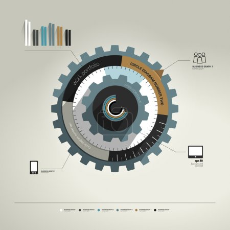 Illustration for Exclusive circle flat infographic diagram. Business cog wheel template concept for brochure, catalog, portfolio, blog, annual report, cover, web page, print media. Vector background illustration. - Royalty Free Image