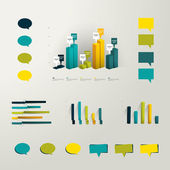 Info graphic set elements Collection of plastic 3D graphs and minimalistic speech bubbles for print or web page Vector background