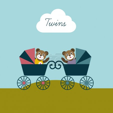 Baby twins born card. New born welcome concept. Children vector background. Teddy bear concept.