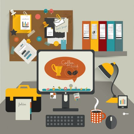 Illustration for Work office table. Flat design vector illustration. Table with computer, folders, noticeboard, lamp. Modern simply illustration. Work pause concept. - Royalty Free Image