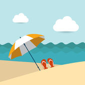 Sunlight beach day Umbrella on tropical island Vector background illustration