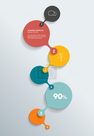 Round numbered template. Business color vector. Infographic.