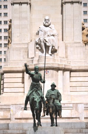 The monument of Miguel Cervantes on Plaza de Espana in Madrid, Spain